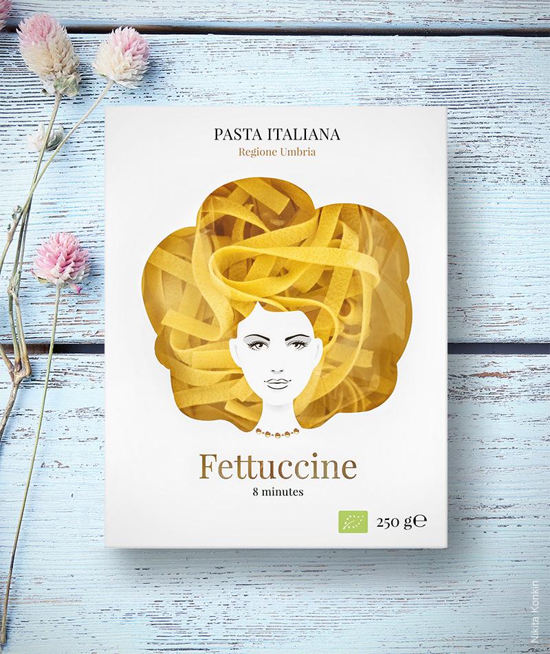 GoodHairdayPasta, Fettuccine, Nikita Konkin, Packaging