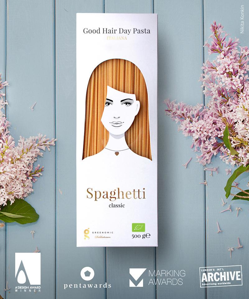 GoodHairdayPasta, Spaghetti, Nikita Konkin, Packaging